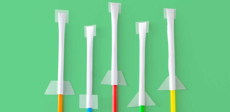 Strawkets straw rocket craft against green background