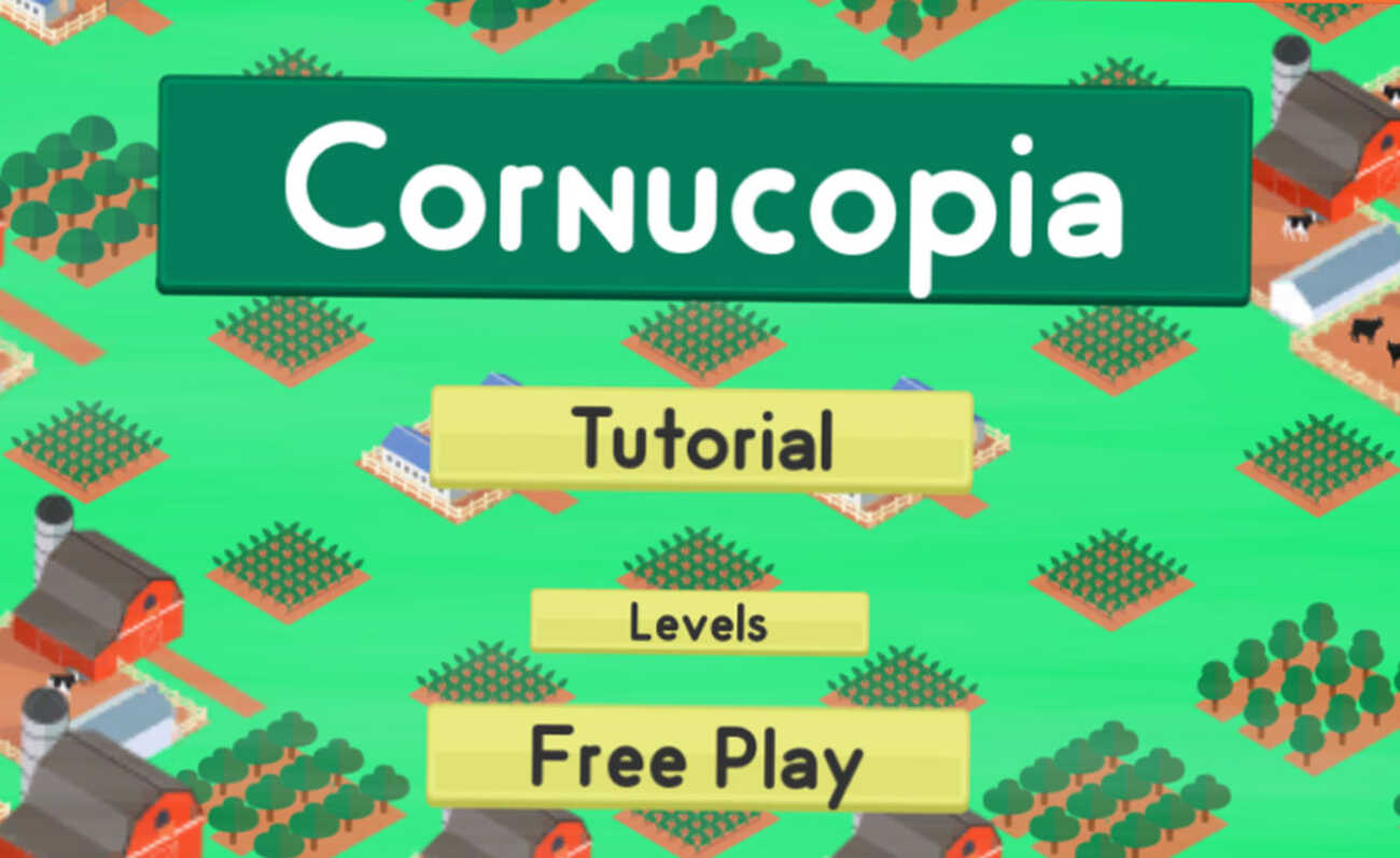 Screenshot of the landing screen for the Cornucopia game.