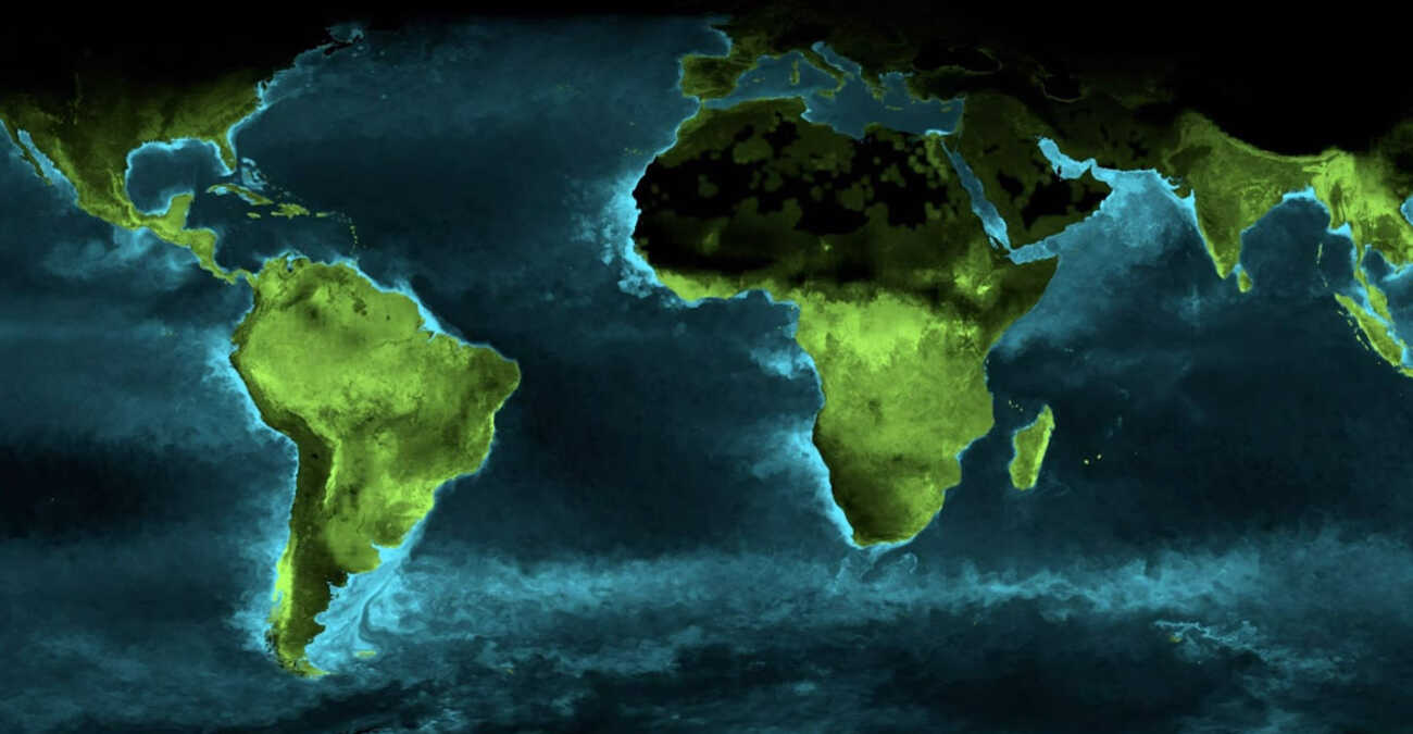 Photosynthesizing plants and algae seen from space on a map of the continents.