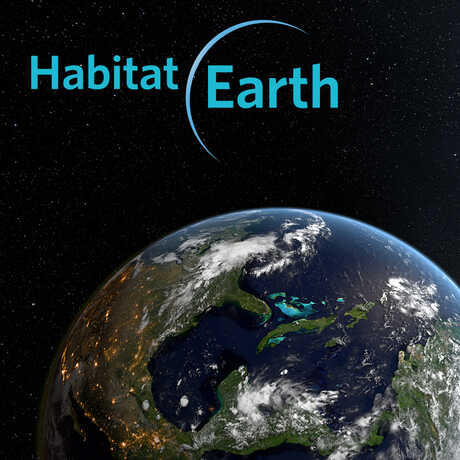 Habitat Earth logo and Earth from space image