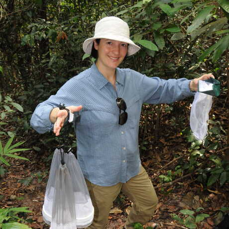 Dr. Shannon Bennett with mosquito traps