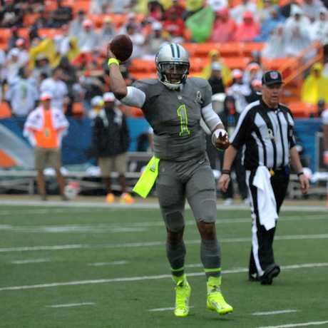 Cam Newton at 2014 Pro Bowl, Public Domain