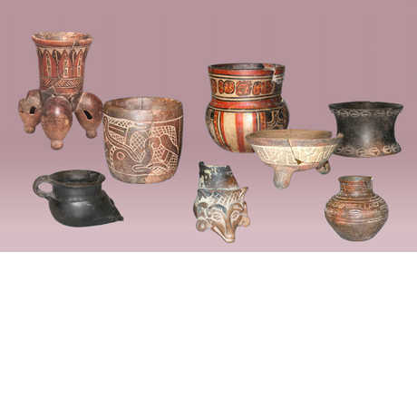 Various pieces of pottery from the Elgueta Collection (Mayan)