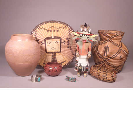 Pottery, figurines, and jewelry from the Elkus Collection (Native American)