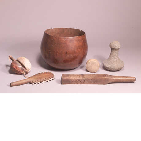 A wooden bowl and other items from the Ostheimer Collection (Hawai'ian)