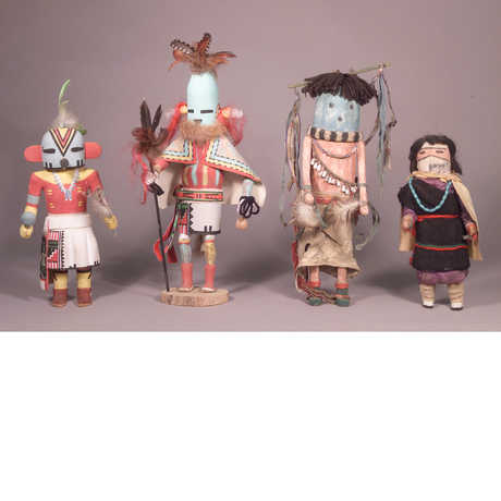 Four Hopi figurines in the Owings Collection (Hopi Katsinam)