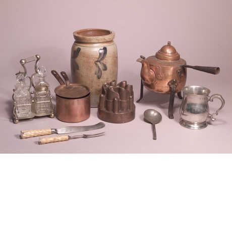 Pots, knives, forks, and cups from the Rietz Collection of Food Technology