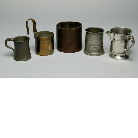 Five different types of cups from the Rietz Collection of Food Technology