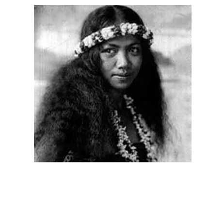 A black and white picture of a Tahitian girl.