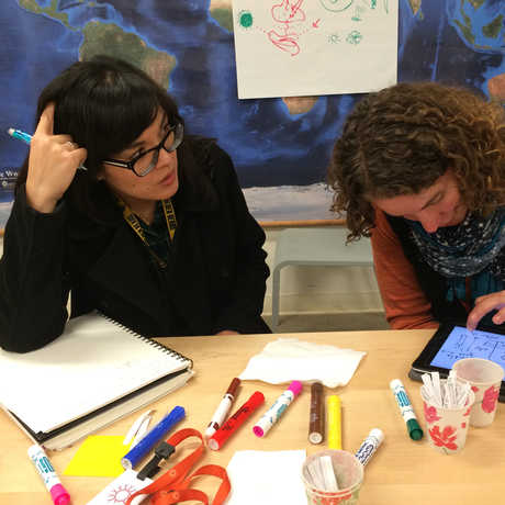 Two teachers work together during a workshop