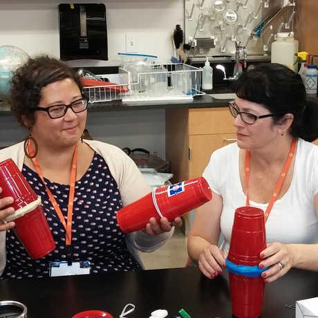 teachers explore sound cups