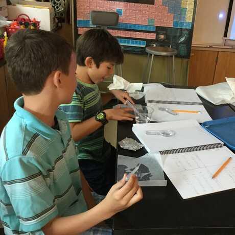 Boys in elemtnary science class