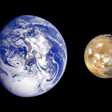 Composite image of Earth and Mars side by side, to show size comparison only