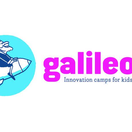 Galileo riding a rock logo