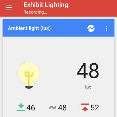 google science journal exhibit lights screenshot