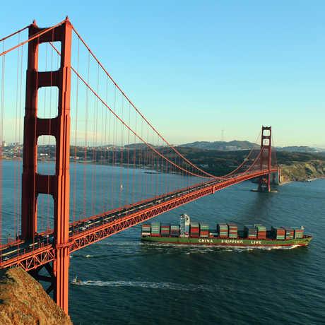 Cargo ship entering San Francisco Bay