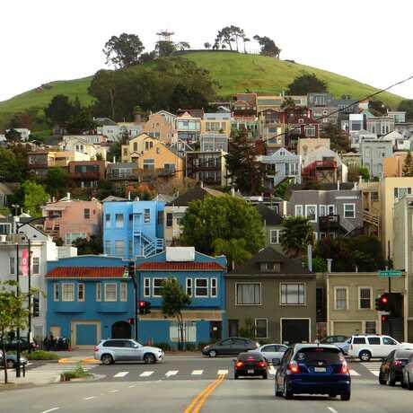 Approaching Bernal Heights Hill, San Francisco, California