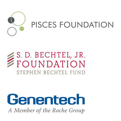 Pisces Foundation, S.D Bechtel, Jr. Foundation, and Genentech logos