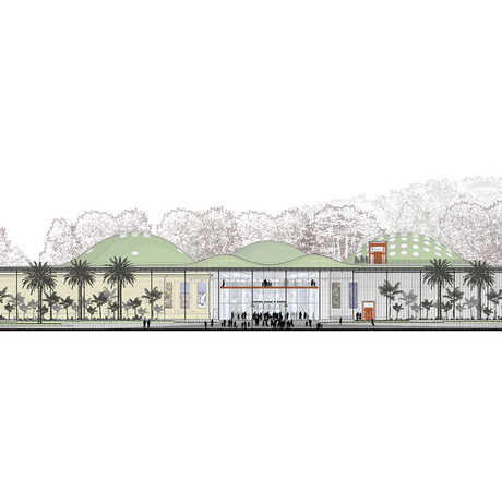 Drawing of Academy building facade.