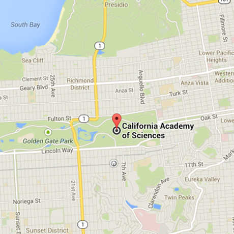 Location of California Academy of Sciences on Google Maps.