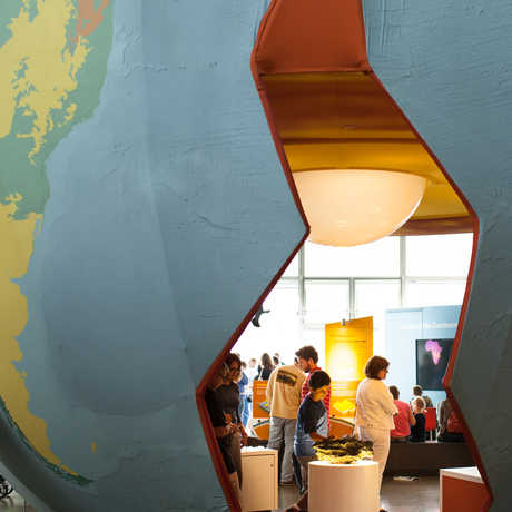 kid explores earthquake exhibit