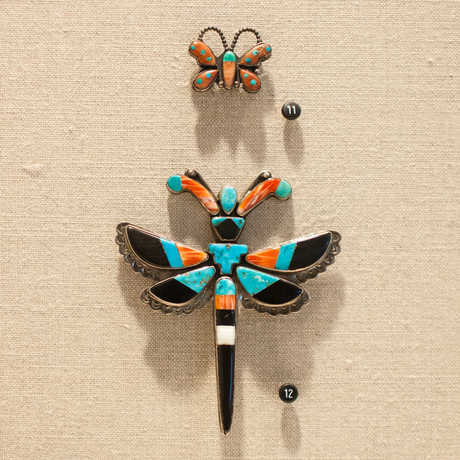 Native American turquoise dragonfly and butterfly pins