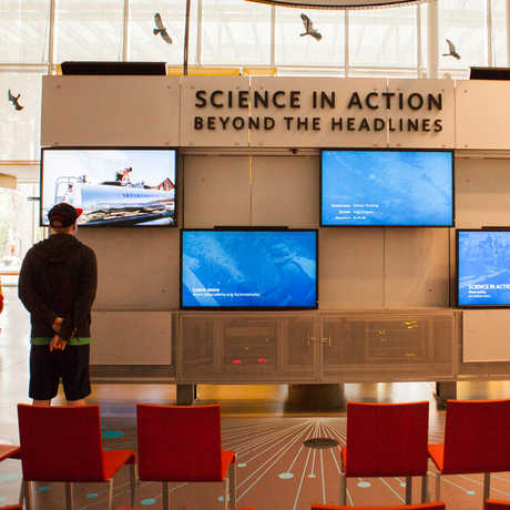 A visitor watches a science video at the Science in Action station.