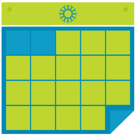 Graphic of a green and blue calendar