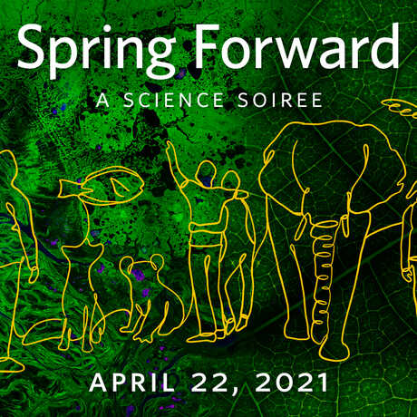 Spring Forward event hero with line drawings of people and animals