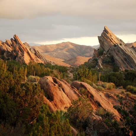 Dramatic Vasquez Rocks in Agua Dulce, California, are evidence of the San Andreas faultline
