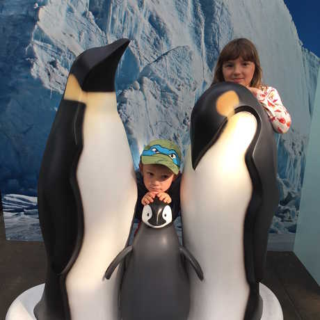 Two kids pose next to life size models of Emperor penguins