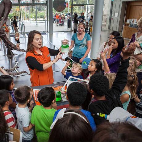 An educator leads a public program by the T. rex
