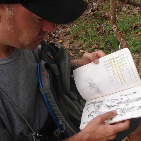Jack Dumbacher witih field guide