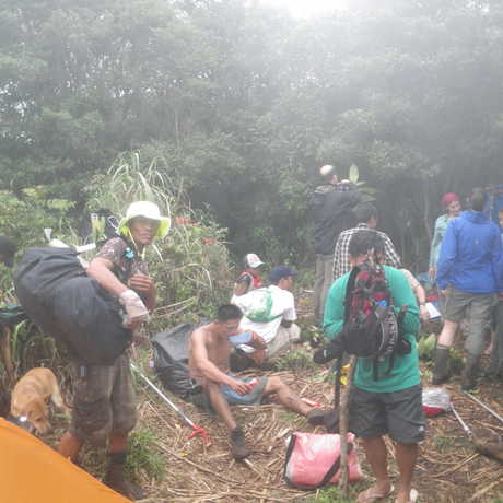 Entomologists, porters, Botanists, a cook, cook's helper, and guides all arrived after a rainy hike from the lowlands