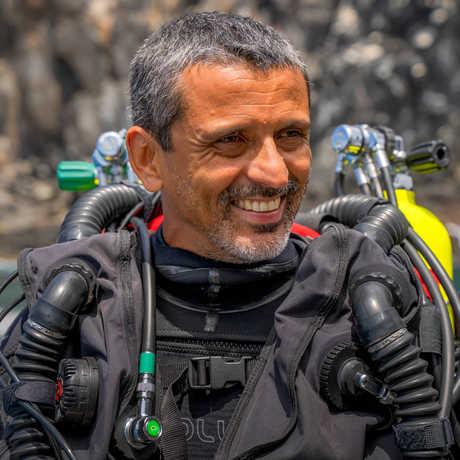Luiz Rocha in scuba gear