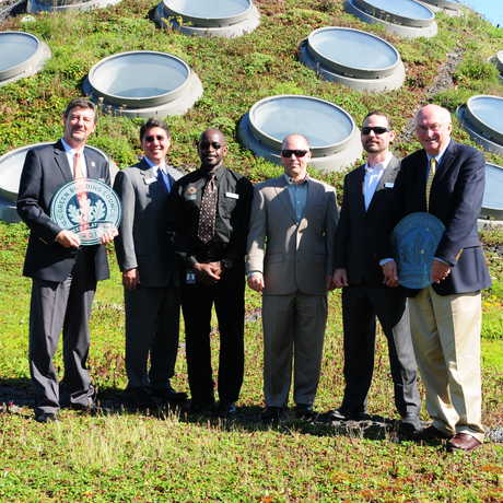 LEED operations team on the Living Roof.