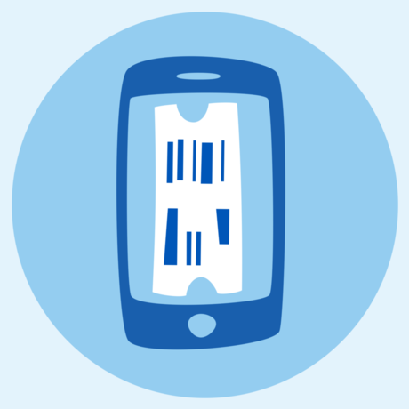 Illustration of smartphone with barcoded ticket