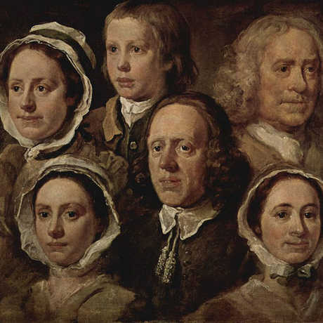 Painting of many faces by William Hogarth