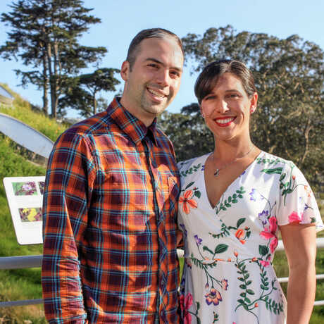 Academy donors Dom and Lauren Narducci atop the Living Roof