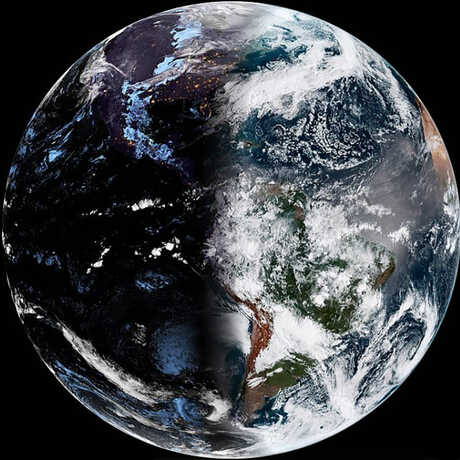 Earth from space, with equinox seen on the left