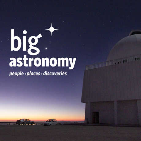 Moody night shot of giant Chilean telescope with Big Astronomy wordmark
