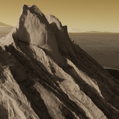 Visualization of light sulphate mountains in the Ganges Chasma region of Mars, based on real data (no height exaggeration).