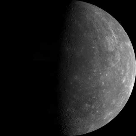 Black and white photograph of Mercury from the spacecraft Mariner
