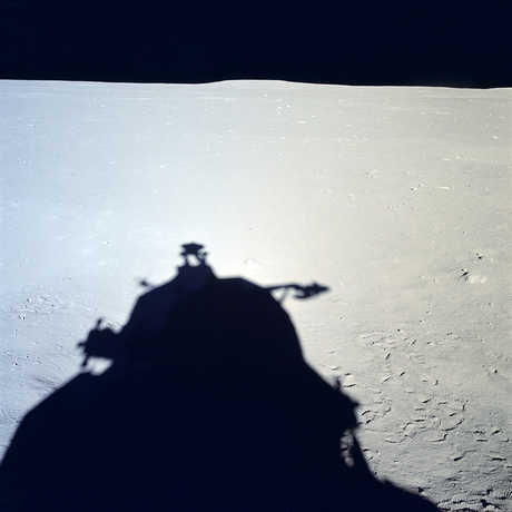 A shadow of the lunar module Eagle on the surface of the Moon