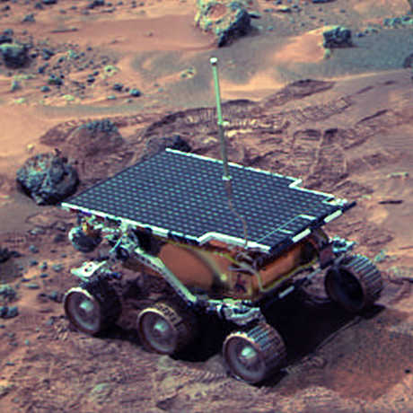 Sojourner rover on surface of Mars