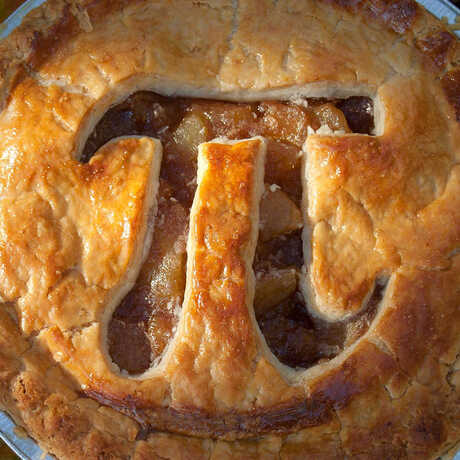 """A pie with the """"pi"""" symbol cut out of the crust"""