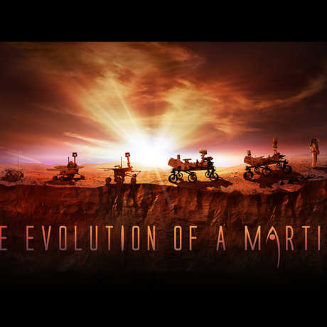 """Evolution of a Martian,"" from robotic rover to human explorer."