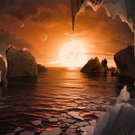Artist impression of the TRAPPIST-1 system