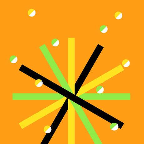 Graphic star design with orange background