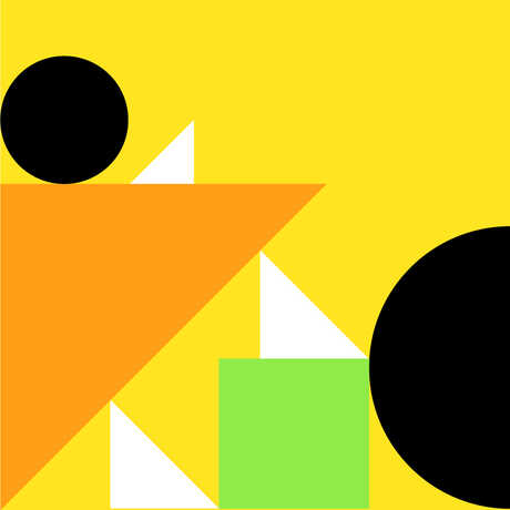 Graphic geometric shapes design with yellow background